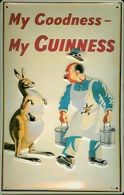 GUINNESS KANGAROO Vintage Metal Pub Sign3D Embossed SteelHome BarIrish