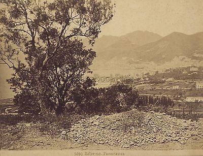 Panorama de Salerno Italie Italia Vintage albumine ca 1875