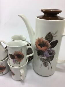 Vintage-J-amp-G-Meakin-Studio-England-Coffee-Pot-amp-5-Cups-and-Saucer-Set-Floral
