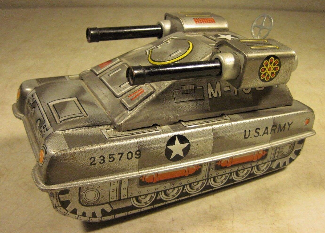 Vintage Tin Litho Friction Hisimo US Army Tank M-105 Toy 2 Guns Japan HTC