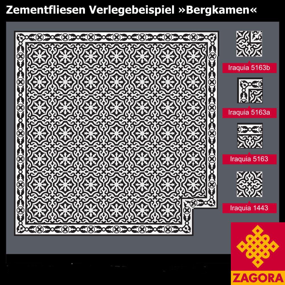 1m² Zementfliesen Boden komplett - Jugendstilfliesen Altbau Iraquia schwarz weiß
