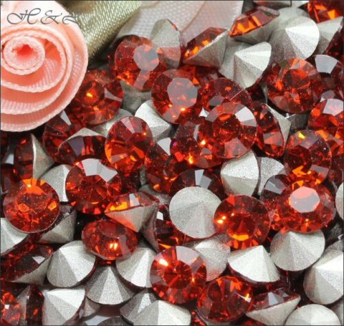 Swarovski Indian Red Xilion 1028 pointed Chatons Foiled stones 3mm 6mm Jewellery