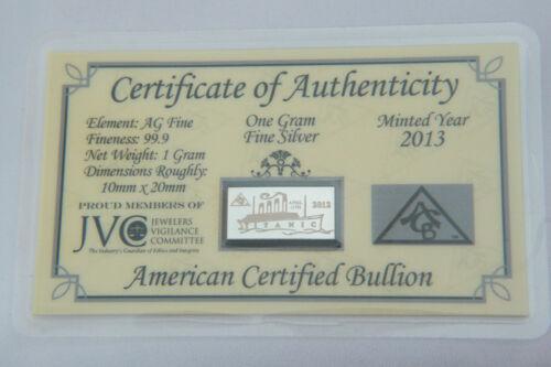 x5 ACB Titanic Limited Edition 2012 Anniversary 1 GRAM 999 SILVER Bars COA =