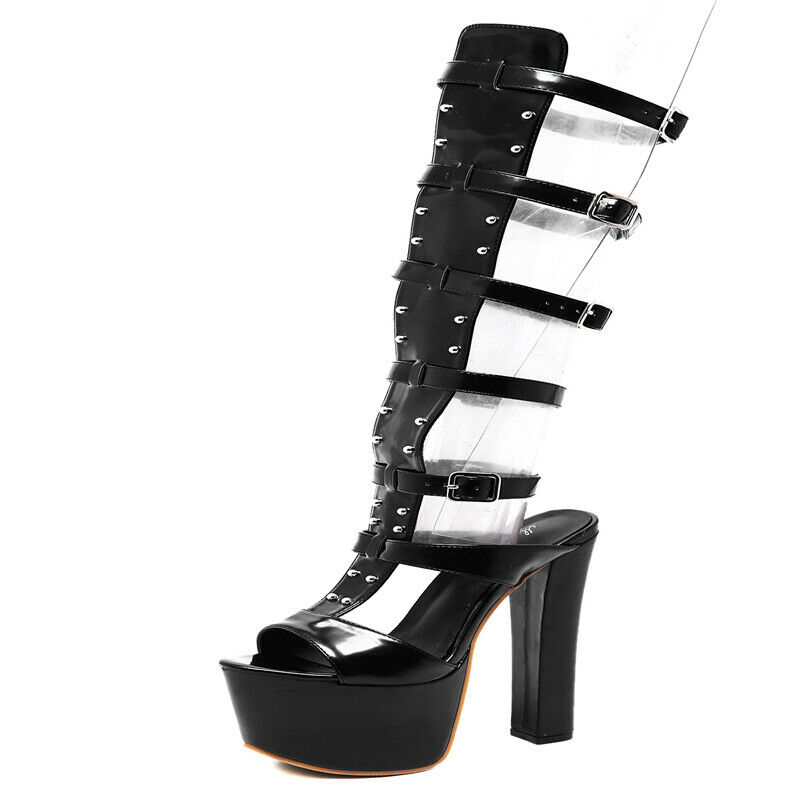 New Women 17CM Super High Block Heel Roman Sandal Boots Platform Gladiator shoes