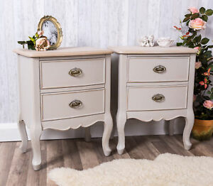 Image Is Loading Pair Of Grey Bedside Tables Shabby Antique Chic