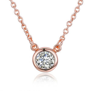 df2b965d8 18K Rose Gold Plated Geometric Disc Necklace Made with Swarovski ...