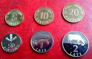 LATVIA 1992  2009  1,2,5,10,20,50 SANTIMS 1 2 Lats COW COIN UNC rare FULL set Estonia/ Latvia/ Lithuania