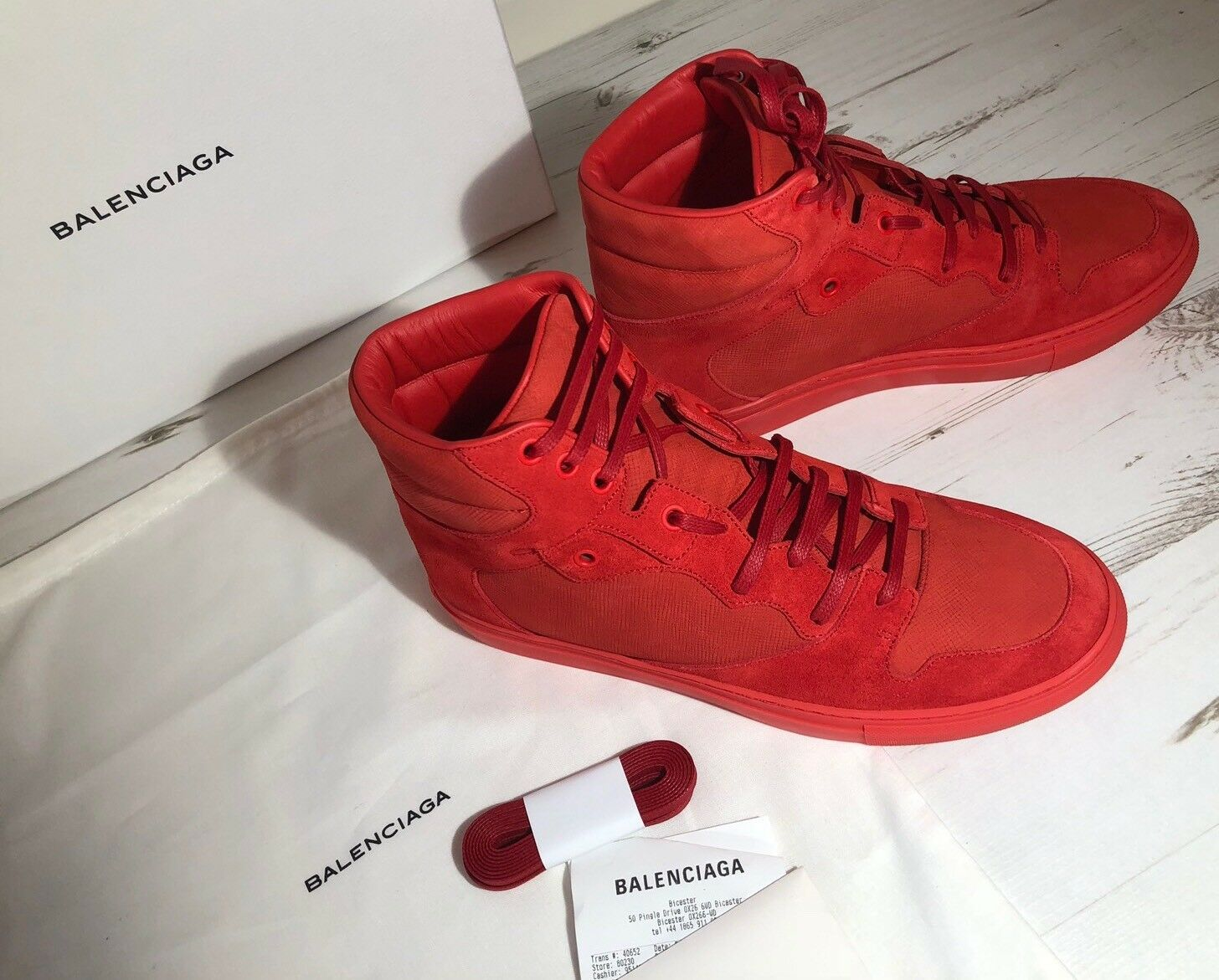 Balenciaga Men's Red Suede High Top Trainers Size IT 40 Brand New RRP