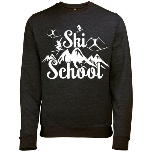 SKI SCHOOL MOUNTAIN PRINT MENS WINTER SKI SNOWBOARD RETRO SWEATSHIRT JUMPER