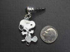 New Snoopy Charm Cell Phone Ear Jack Plug Smart Phone Rhinestone Dust Plug