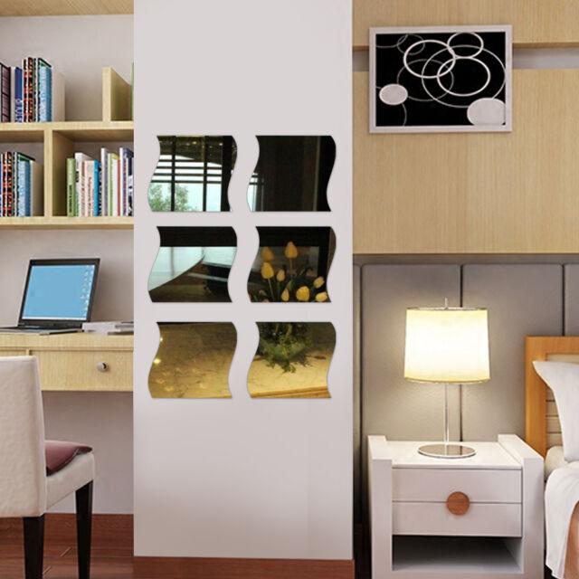 6 pcs Moderne 3D Miroir Wave Wall Sticker Decor Decal Art Mural Accueil Room À faire soi-même