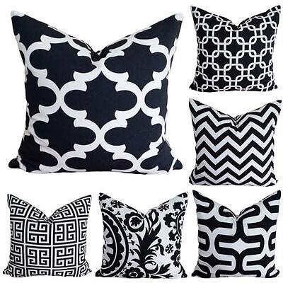 Black White Cream Cotton Chevron Vintage Retro Designer Cushion Pillow Cover