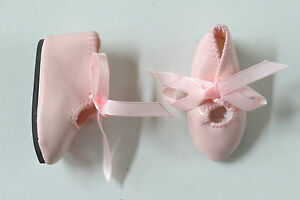 Chaussures  Long 62   Large 22   Simili cuir  Rose   pour poupées anciennes