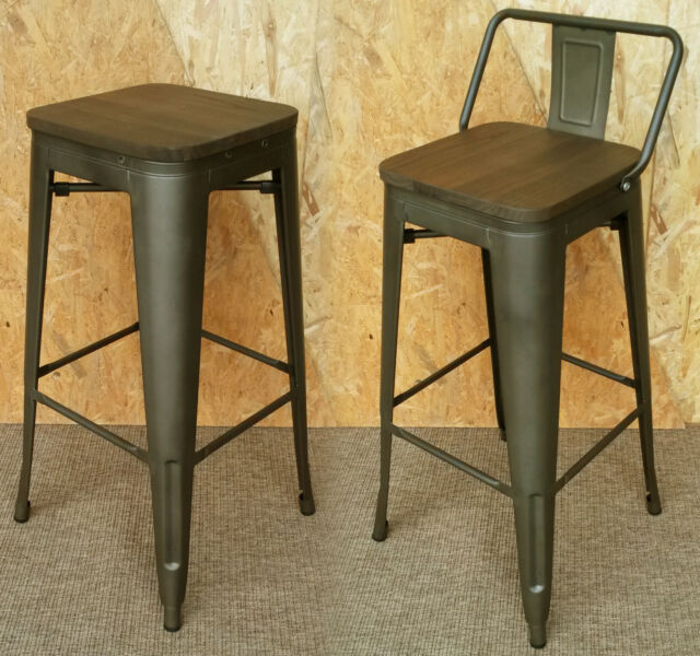 Tolix Tarnished Metal Bar Stool With Back Wood Seat Retro Bistro Cafe Restaurant