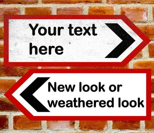 Metal Personalised UK Road Arrow Sign Left Or Right Direction Size 283 x 98mm