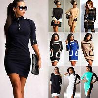 Damen Langarm Pullover Partykleid Cocktailkleid Minikleider Herbst Freizeitkleid