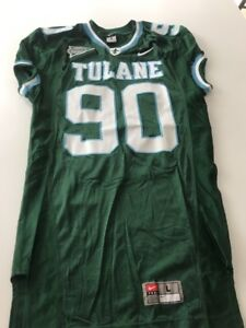 Game Worn Used Nike Tulane Green Wave Football Jersey Size L  90  a67cce48d