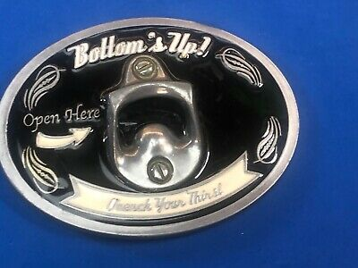 OPEN HERE LARGE BELT BUCKLE WITH BOTTLE OPENER BUCKLES