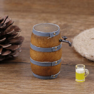 1-12-Wood-doll-house-mini-furniture-accessory-Beer-Barrel-with-water-tap-wv
