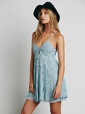 BNWT Free People Intimately Chloe Blue Floral Textured Slip Dress - XS