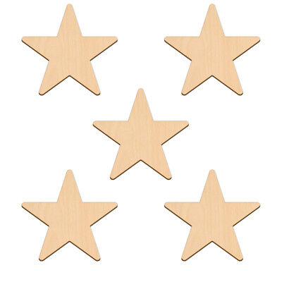 Forma de estrella de cinco puntos artesanía Blanco 5.1x0.3cm Madera de Abedul Decoración Adorno