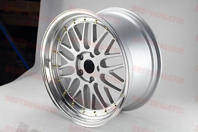 "18X8.5"" LM STYLE SILVER/GOLD RIVET RIMS FITS BMW 11+ 5 SERIES F10 E90 E92"