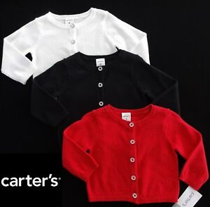 5b72dfbc3 NWT Carter s Girls Black or Red Button Front Sweater(Size 3M