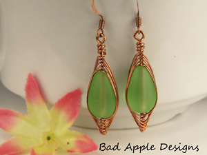 SEA-GLASS-Teardrop-Green-Weave-Wire-COPPER-Dangle-Earrings-USA-HANDMADE