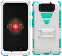 White Turquoise Tri-shield Skin Hard Case Stand For Motorola Droid Maxx / Ultra on sale