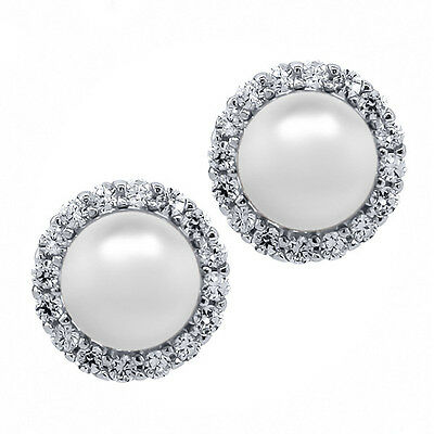 925Silver White Cultured Freshwater Pearl Removable Jacket Stud Earrings