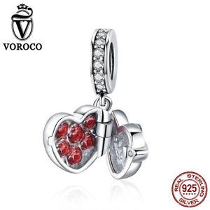 VOROCO-925-Sterling-Silver-Unique-Red-CZ-Heart-Locket-Dangle-Charms-Fit-Bracelet