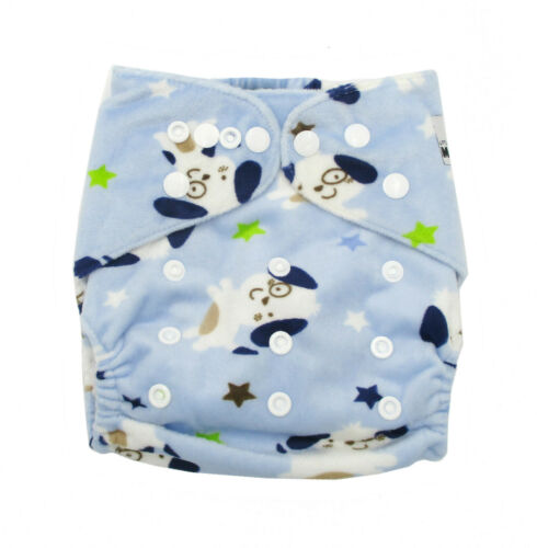 MODERN CLOTH NAPPIES MCN DIAPERS POTTY REUSABLE ADJUSTABLE Minky Blue Dogs SHELL