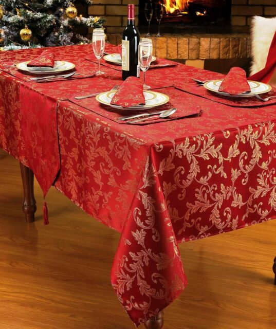 Sparkle Heather Christmas Tablecloth Collection Napkins Runner