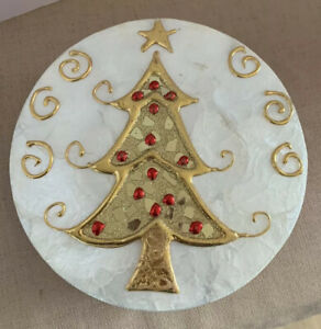 Hand-Made-Shell-Paper-Mache-Christmas-Holiday-Tree-Round-Gift-Box