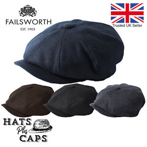 Failsworth-Alfie-Melton-Wool-Peaky-Blinders-Newsboy-Flat-Cap-Navy-Grey-Black-Hat