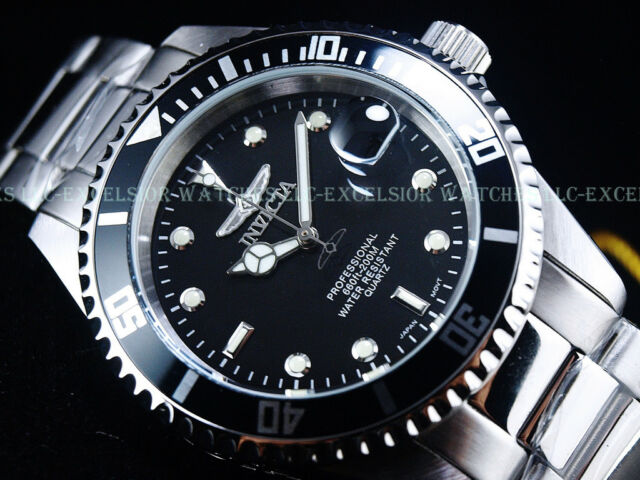 Invicta 200M Submariner Original Coin Edge Bezel Pro Diver Quartz Blk Dial Watch