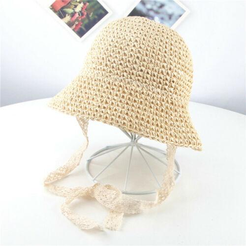 Summer Baby Girls Children Ribbons Breathable Hat Straw Hat Kids Outwear Hat Cap