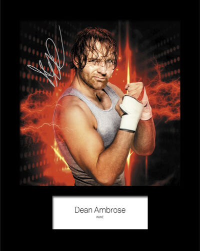FREE DELIVERY WWE DEAN AMBROSE #4 Reprint 10x8 Mounted Photo Print Signed