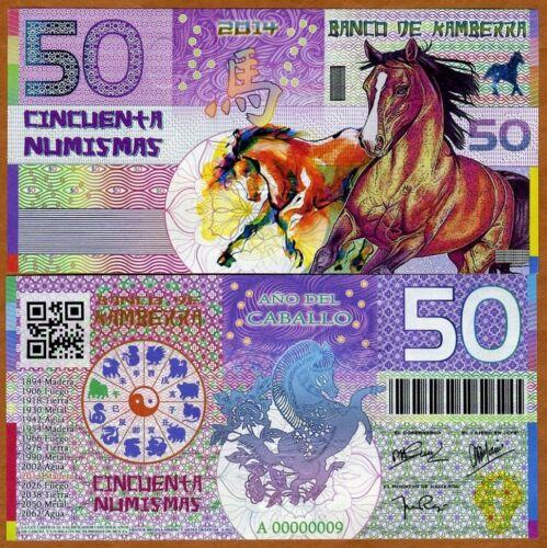 UNC /> Horse 50 Numismas China Lunar Year 2014 Kamberra
