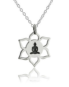 Lotus Flower Buddha Necklace 925 Sterling Silver New Meditation