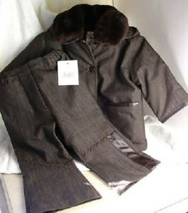 FEFE-Italy-Winter-Outerwear-Brown-Coat-Pants-Set-Unisex-Infant-18-months-NEW-NWT