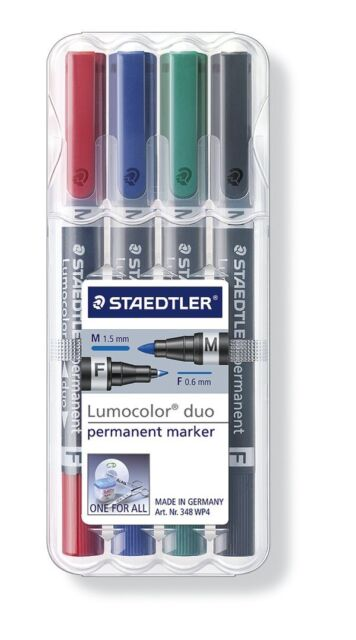Staedtler 348 WP4 -Lumocolor Permanent Double Ended Permanent Marker - Pack of 4
