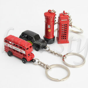 Telephone-Booth-London-Bus-Mailbox-Keyring-Keychain-Key-Ring-Chain-Gift