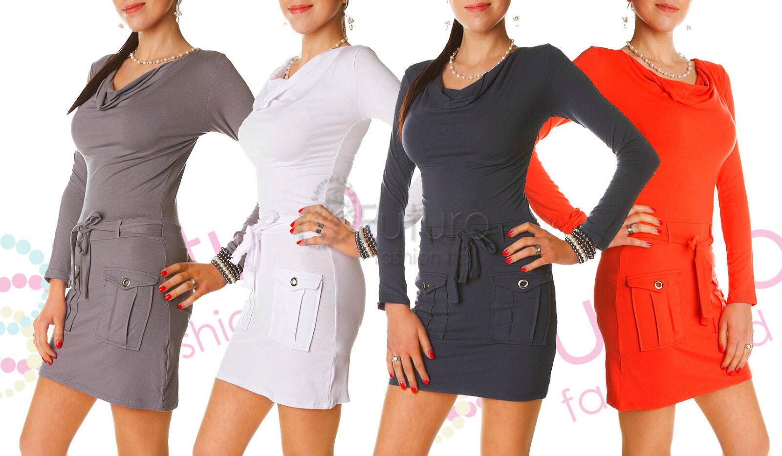 Mesdames avec mini robe avec Mesdames poches & ceinture col boule manches longues tunique taille 8-12 5649 fc4485