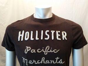 Hollister-marron-brode-enoncent-homme-a-encolure-ras-du-cou-a-manches-courtes-T-shirt-Sz-L