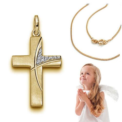 Zirkonia Kreuz Anhänger Gold 333 Bicolor Kinder Taufe