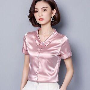 c877d28f7 Short Sleeve Button Down Women Faux Silk Satin Shirt Formal Shiny ...