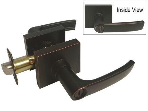 Dark Oil Rubbed Bronze Square Plate Privacy bedroom bathroom lever contemporary
