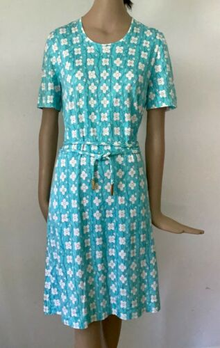 AVERARDO BESSI TURQUOISE SHIFT DRESS WHITE FLOWERS