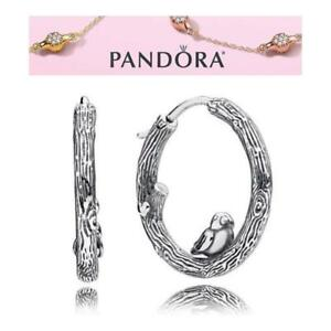 a6bd4e114 Image is loading Pandora-Silver-Spring-Bird-Hoops-Earrings-S925-ALE